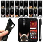 For ZTE Grand X4 Z956 Z957 Damon Cat Design TPU Black SILICONE Case Cover + Pen