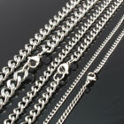"""3mm, 6mm, 9mm width Stainless Steel Curb Chain Necklace 20"""", 24"""", 30"""", 36"""" Inch"""