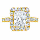 3.8ct Emerald Round Cut Halo Statement Engagement Promise Ring 14k Yellow Gold
