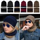 Men Stretch Cable Knit Lined Thick Warm Winter Wool Slouchy Beanie Hat Scarf Cap