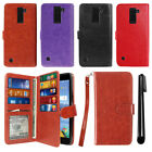 For LG K8V VS500 Flip Card Holder Wallet Phone Case Cover Wrist Strap + Pen