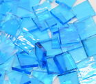 Crystal Blue Rough Rolled Hand Cut Stained Glass Mosaic Tiles #535