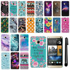 For HTC One M7 AT&T Mixed Design HARD Protector Back Case Phone Cover + PEN
