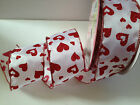 Valentine GLITTERY HEARTS red on white Love 63mm - Luxury Wire Edged Ribbon