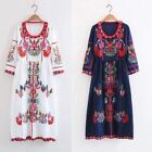 Womens vintage  hippie ethnic embroidery Mexican boho maxi tunic festival dress