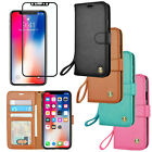 iPhone 10 X Leather Wristlet Wallet Case Cover + Tempered Glass Screen Protector