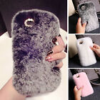 Women Luxury Soft Rex Faux Rabbit Fluffy Fur Skin Cover Case For iPhone 6/5 5S