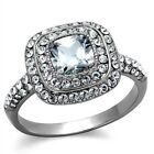 New Stainless Steel Square Cubic Zirconia Halo Engagement Ring Sizes 5 - 10