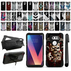 "For LG V30 6"" LG V30+ Plus H930 Hybrid Dual Layer Kickstand Case Cover + Pen"