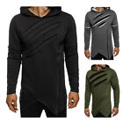 Men Zipper Hoodies Sweatshirt Long Sleeve Irregular Longline Hooded Coat O1435