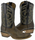 Mens Rustic Brown Distressed Leather Cowboy Boots Western Casual Dubai Toe