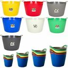 Strong Large Round Flexible Plastic Storage Tub Bucket Basket with Handles Litre