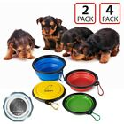 Portable Travel Collapsible Foldable Cat Dog Food Dish Bowl [FDA Grade] Silicone