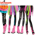 AC283 Girls Footless Tights Neon Bones Day of Dead Halloween Costume Stockings