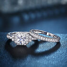 Bridal Halo White Cz 925 Sterling Silver Wedding Engagement Ring Set Size 5-12