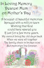 Mother's Day graveside Memorial Bereavement Card Mum Mam Grandma Nan MD33