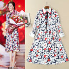 New Occident hot sale fashion lapel bowknot cartoon flower makings dress SMLXL