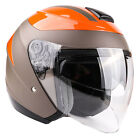 3/4 Open Face Helmet Motorcycle Moped Scooter DOT Dual Visor Small Medium Large