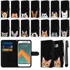 For HTC 10 One M10 Cat Design Slim Wallet Pouch Phone Case Cover + Pen