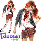 High School Undead Zombie Ladies Fancy Dress Halloween School Uniform Costume
