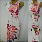 NEW F&F SCUBA DRESS BODYCON SHIFT FLORAL CREAM PINK PURPLE SUMMER SIZE 8 - 20