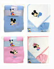 Disney Baby Infant Mickey Minnie 3pc Gift Set Blanket + Hooded Towel w Washcloth