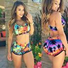 Women Tree Print Bikini Set Bathing Suit Crop Top Bottom Two Piece B20E