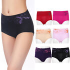 Women Sexy Underwear Panties High Waist Bamboo Fiber Brief Flower Print Abdomen