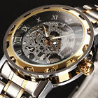 Classic Men's Skeleton Dial Mechanical Stainless Steel Band Wrist Watch image