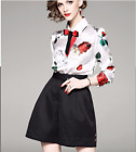 18 New Occident popular rose Printed shirt+wide-legged pants fashion suits SMLXL