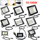 US Plug LED Flood Light 100W 50W 30W 20W 10W Cool Warm White Lamp DC12V / AC110V
