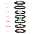 Lava Rock Stone Beads Hand Chain Single Chakras' Gemstone Braided Woven Bracelet