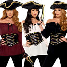 Deluxe Pirate Shirt Ladies Fancy Dress Buccaneer Adults Womens Costume Tops New