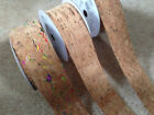 Eleganza CORK cut edge ribbon - 22 & 38mm - 3 designs & various lengths** NEW **