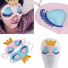 Women Big Eyes Eyelash Crown Travel Rest Relax Sleeping Blindfold Shade Eye Mask