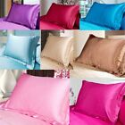 Solid Queen/Standard Silk Satin Pillow Case Bedding Pillowcases Smooth Home Hot image