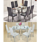 7 PIECES DINING TABLE GLASS TABLE AND 6 CHAIRS FAUX LEATHER DINNING SET ,2 COLOR