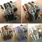 Infinity Bracelet Infinite Leather Braided Tree of Life Dove Birds Pearl 5Colors