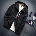 Men Casual Hooded Letter Print Jacket Slim Zipper Think Fashion Coat Windbreaker