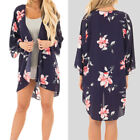 Women Flower Floral Loose Shawl Kimono Cardigan Bohemia Chiffon Blouse Crop Tops