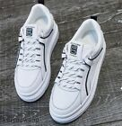 Womens Leather Lace up Casual White Board Shoes Fashion Athletics Sneakers Sport