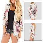 Women Floral Flower Boho Kimono Cardigan  Shawl Coat Beach Cover Up Crop Tops AU