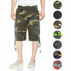 Men's Tactical Combat Military Army Cotton Twill Camo Cargo Shorts With Belt