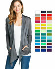 Внешний вид - Women's Cardigan Long Sleeve Flyaway Lightweight Open Front Draped w/ Pockets