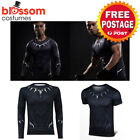 K525 Mens Black Panther T-Shirt Compression Top Comic Superhero Avengers Costume
