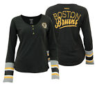 Reebok NHL Women's Boston Bruins T-Shirt Long Sleeve Henley Striped