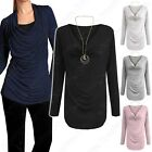 NEW WOMENS COWL NECK TOP WITH NECKLACE CASUAL MULTIWAY LADIES BACK DRAPE SHIRT