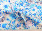 Payless Fabric Challis Rayon Apparel Blue White and Gray Abstract Floral