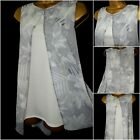 NEW £32 WALLIS TOP TUNIC SHIFT LONGLINE LAYERED FLORAL GREY IVORY SUMMER 12 - 20