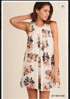 Umgee white sleeveless floral dress shift cotton blend
